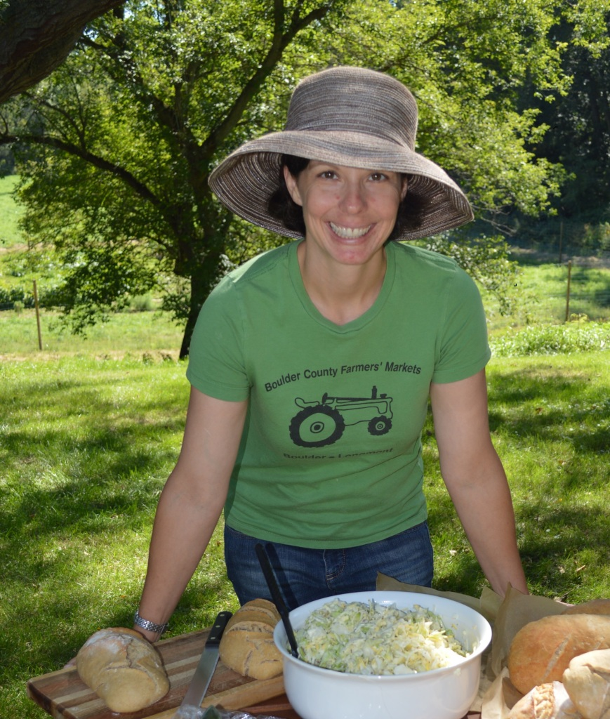 Angela hosting an on-farm picnic for friends, family, and volunteers in 2014.